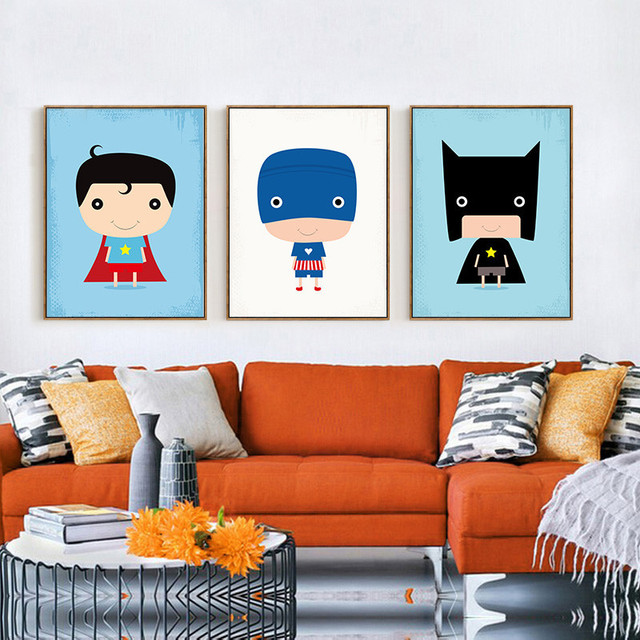 Modern Superhero Canvas Painting Cartoon Superman Batman Art Prints Poster Marvel Wall Decor Pictures For Child