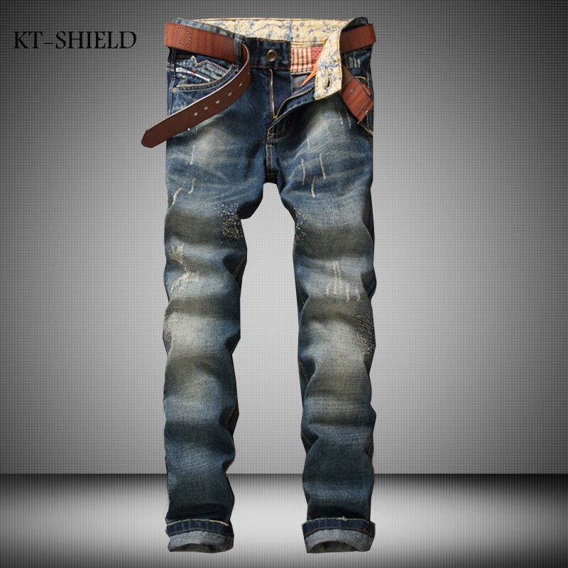 ФОТО fashion brand Men casual denim full length pants trousers Solid skinny Masculina Pantalones Vaqueros Hombre Jean Distressed