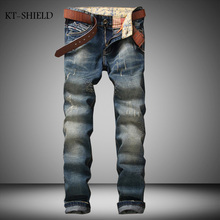 fashion brand Men casual denim full length pants trousers Solid skinny Masculina Pantalones Vaqueros Hombre Jean Distressed