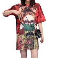 2018 Fashion Printing Women Dresses Short Sleeve Loose Dress Vestidos Femme