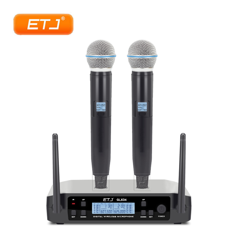professional uhf dual microphone wireless handheld glxd24 karaoke dynamic microphone top quality. Black Bedroom Furniture Sets. Home Design Ideas