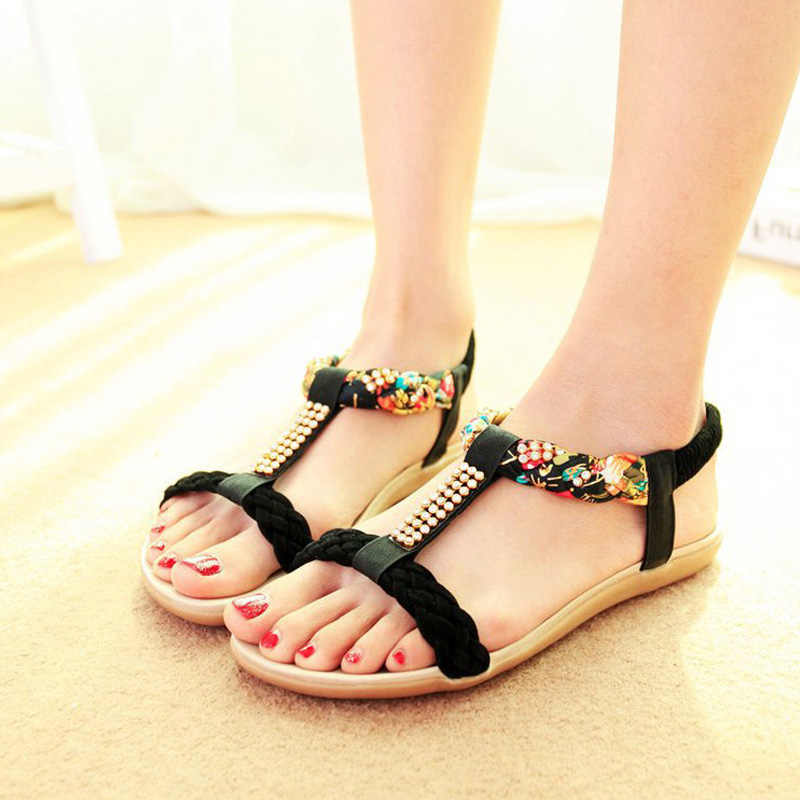 ... LAKESHI Bohemia Women Sandals Summer Beach Flip Flops Women Shoes  Crystal Open Toe Ladies Sandals 2018 ... bf6ec6f30eb7