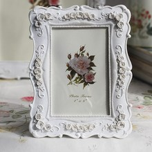 6/7/8/10 Inch White Roses Carved Photo Frame Pastoral Style Picture Frame On Tabletop Home Decor Resin Frames With Glass Cover european style black and white checkered resin embossed love bird 6 inch 7 inch 8 inch 10 inch frame handicraft home decoration