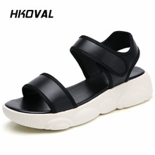 HKOVAL Women Sandals Casual Fashion Flats Comfortable Female Shoes Genuine Leather Summer Ladies Soild Sandals Shoes beyarne summer sandals female handmade genuine leather women casual comfortable woman shoes sandals women summer shoes
