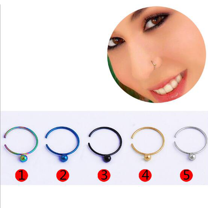 Shade Nose Stud Jewelry Bell Human-Button Body-Piercing Stainless-Steel Round with Curved-Rod