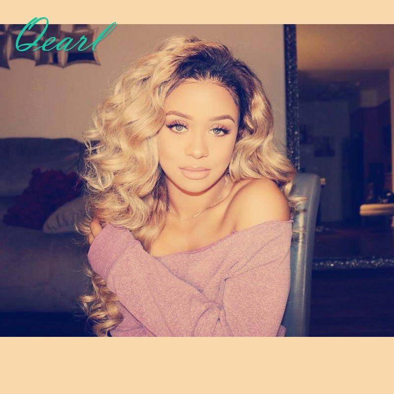 Qearl Hair Ombre Blonde Full Lace Human Hair Wigs 150% Density Brazilian Virgin Hair Pre PLucked Natural Hairline Full Lace Wigs