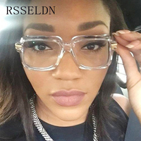 RSSELDN Fashion Square Sunglasses Women Clear Lens Square Transparent Shades For Women Big Black UV400 High