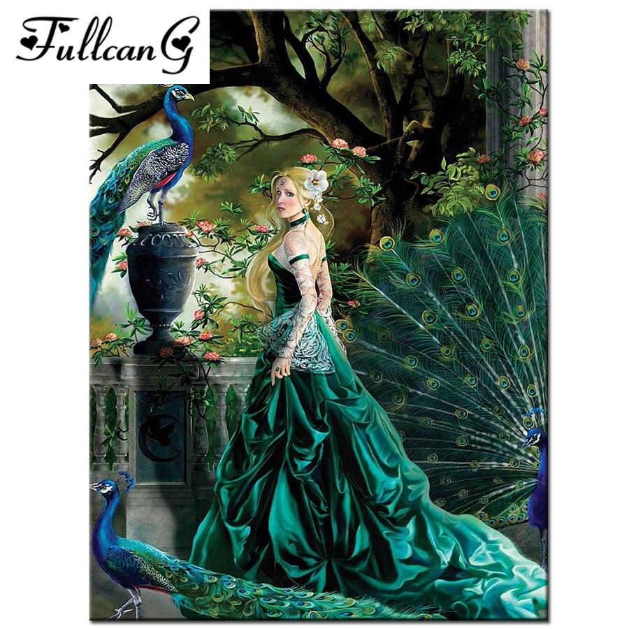 fabdb0aaa فتاة جميلة و الطاووس فسيفساء اللوحة كامل الماس اللوحة عبر غرزة صورة مربع  الماس التطريز الحيوانات e211
