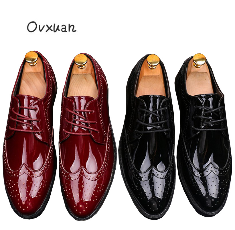 Ovxuan Red Carved Patent leather Brogue Business Formal Handmade Men Shoes  Office Wedding Dress Mens Shoes Casual Oxford Italian-in Men s Casual Shoes  from ... f4316e424c5a