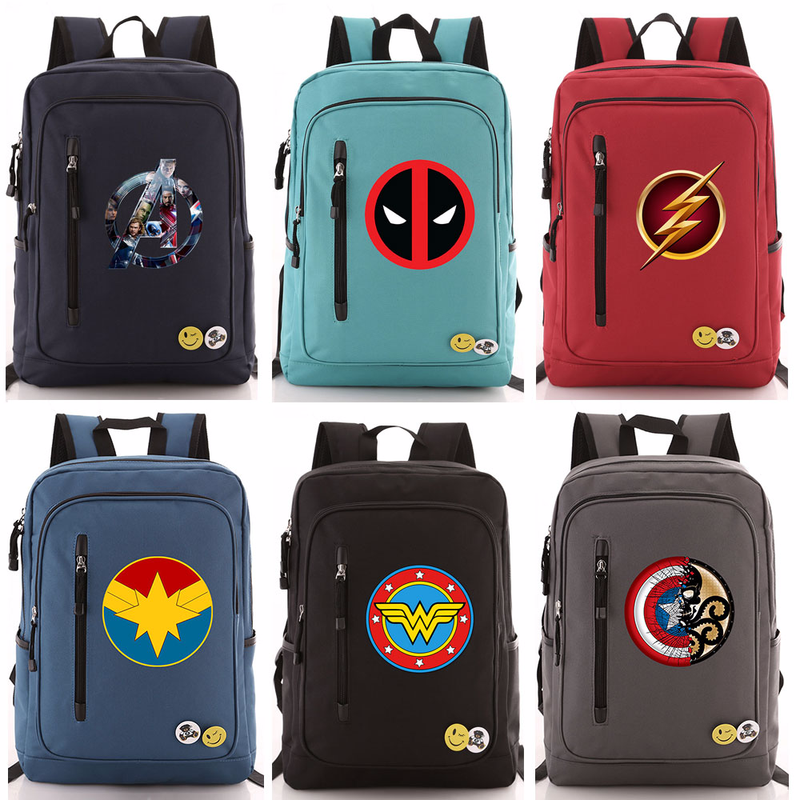 Comics The Avengers Flash Wonder Woman Deadpool Boy Girl School bag Women Zip Bagpack Teenagers Schoolbags Men Student Backpack9 image