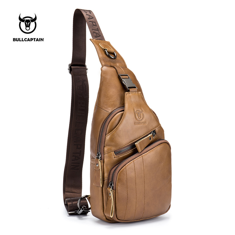 BULLCAPTAIN 2017 Genuine Leather Men Messenger Bag Casual Crossbody Bag Fashion Men's Handbag men chest bag Male Shoulder Bag