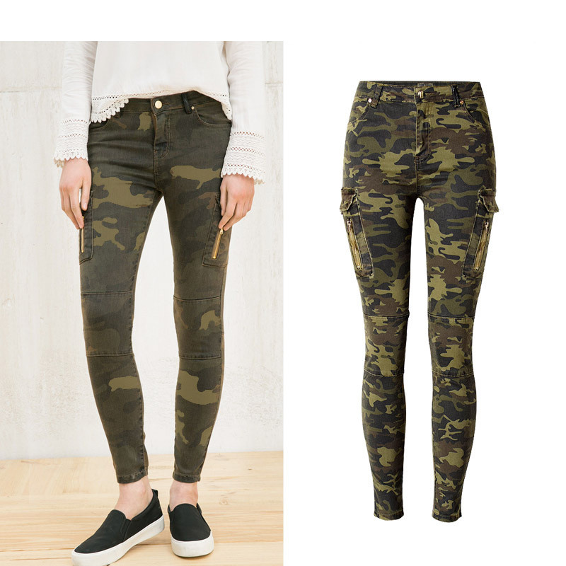 Army Camouflage Pants Stretchable Skinny Overalls Cargo Pants Mid Waist Woman Denim Plus Size Sexy Tight Fit Pencil Pants Femme