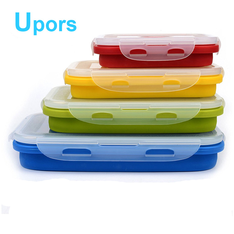 Upors 4Pcs/Set Portable travel Containers Lunch Bento