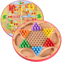 New Wooden 2 In 1 Chess Game Flying Chess and Chinese Checkers Flight Chesses Party Games for Adult and Children Wooden Toys стоимость
