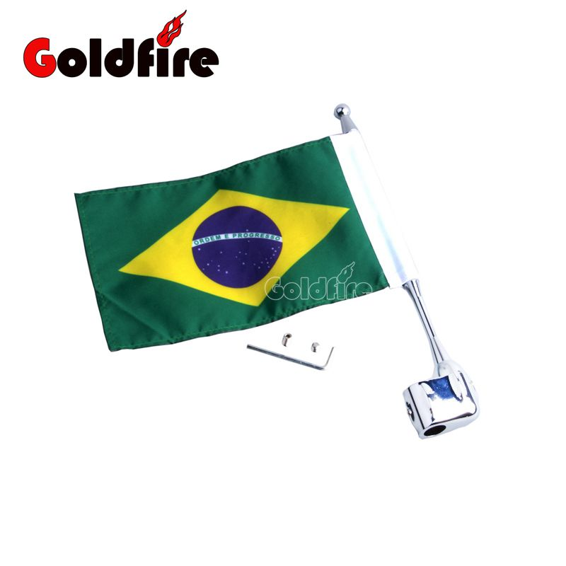 Motocycle Brazil Flag CNC Rear Side Mount Luggage Rack Antenna Vertical Flag Pole For Honda GoldWing GL1800 GL1500 2001-2012 motocycle cnc aluminum rear side mount luggage rack vertical flag pole american for harley touring road king glide