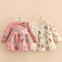 赤ちゃんの女の子プリンセスドレス子供長袖秋冬ドレス幼児子供ウサギバニープファッション服2-8年