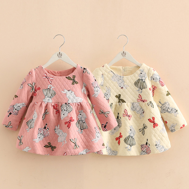 Baby Girl Princess Dress  Kids Long Sleeve Autumn Winter Dresses Toddler Children Rabbit Bunny Printed Fashion Clothes 2-8 Years new 2017 baby girls ruffle sweater dress kids long sleeve princess party christmas dresses autumn toddler girl children clothes