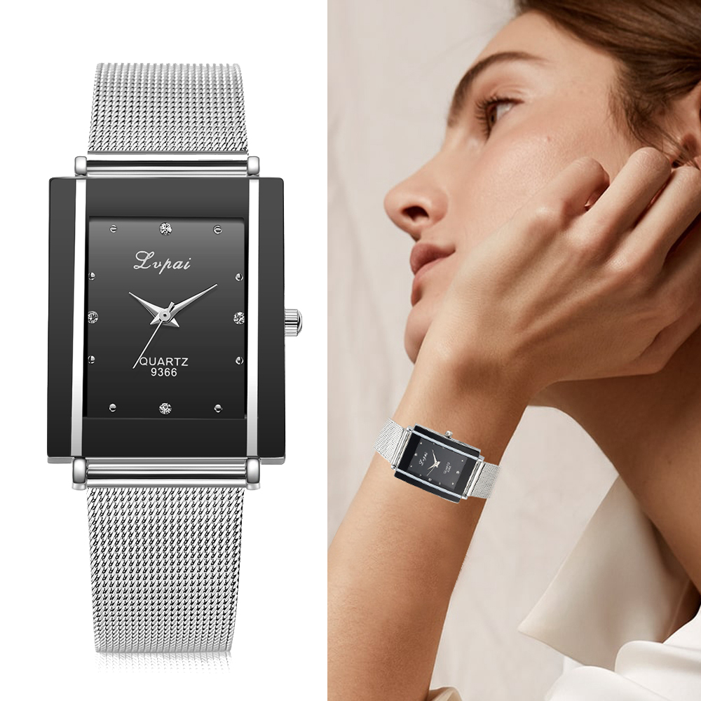 Women Bracelet Watch Silver Square Luxury Crystal Alloy WristWatches Lvpai Brand Women Fashion Men Watch Quartz Dropshiping