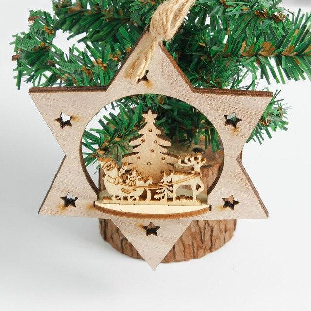 3pcsset diy creative wooden christmas ornaments decoration wood crafts christmas decor christmas tree decorations