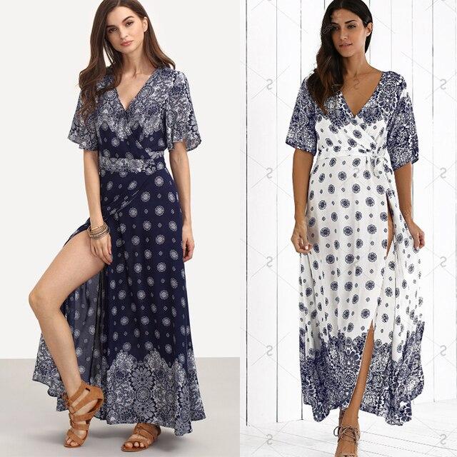 62a3a2c68c4 Jessie Vinson Bohemian Style Beach Long Dress Boho Print Deep V-neck Long  Sleeve Split Maxi Dress Plus Size Loose Women Dress
