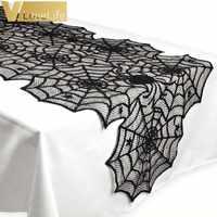 18X72 pulgadas de Halloween tela de araña camino de mesa negro encaje mantel Decoración de mesa de Halloween fiesta Festival suministros