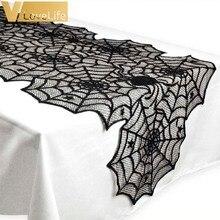 18X72inch araña de Halloween Web negro de corredor de mesa de encaje mantel de mesa de Halloween decoración Festival Fiesta suministros