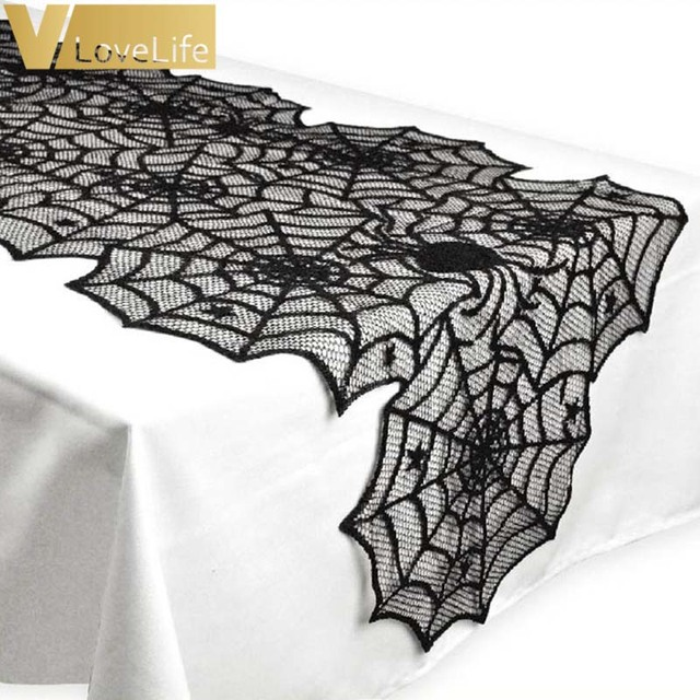 18X72inch Halloween Spider Web Table Runner Black Lace Tablecloth Halloween  Table Decor Festival Party Supplies