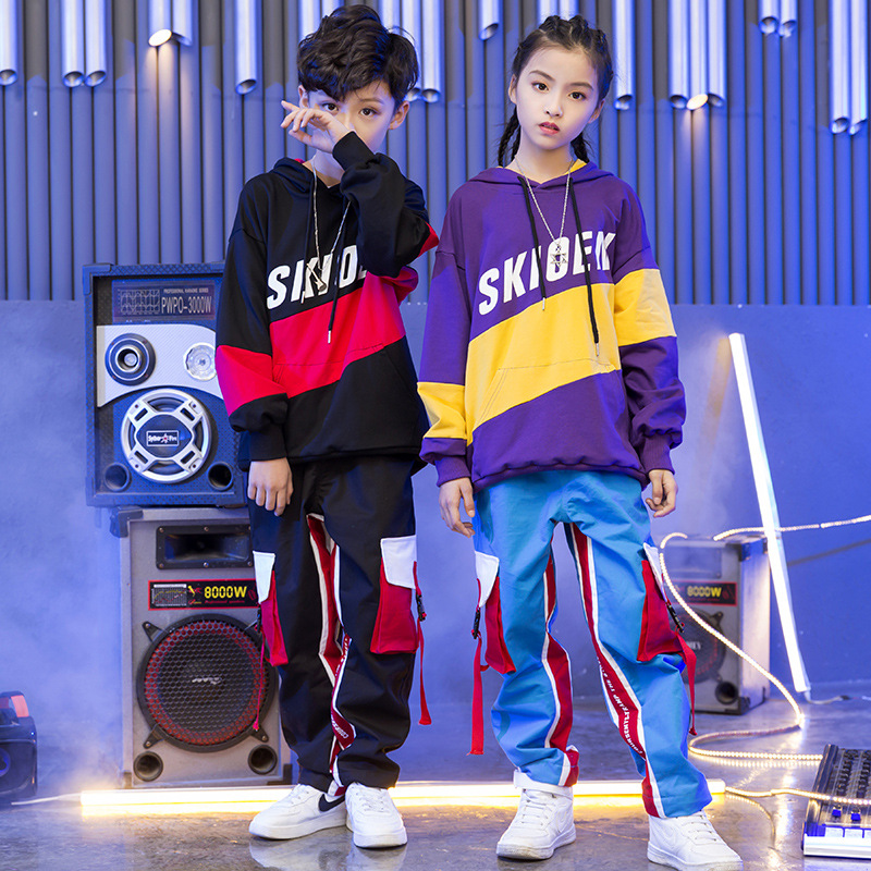 2018 New Hoodie Pants Set Children Street Dancewear Outfit Boys Girls Jazz Hip Hop Dance Costumes Kids Stage Performance Clothes
