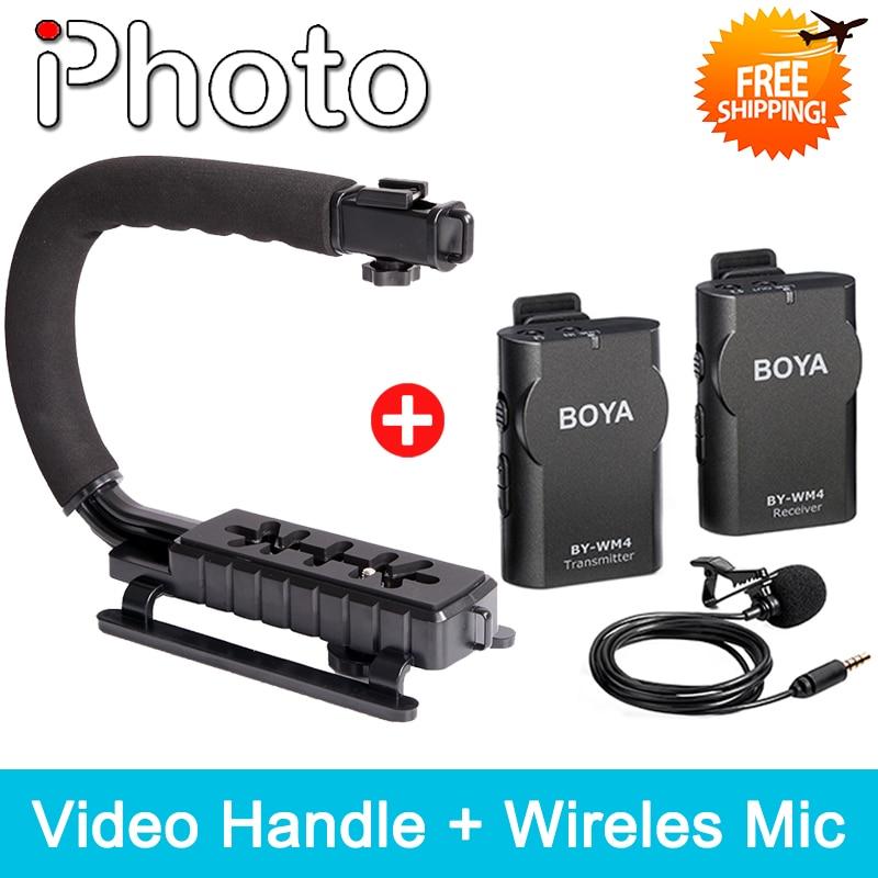 iPhoto Wireless Lavalier Microphone + Handheld Grip U Shape Bracket Kit for Canon Nikon Sony DSLR Camera DV Camcorder Video Use meike mk d750 battery grip pack for nikon d750 dslr camera replacement mb d16 as en el15 battery