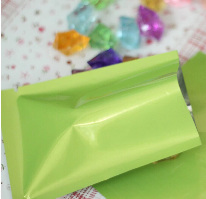 1-18 Joy, 9*13CM green aluminum Foil bags - Aluminized Plastic Packing pouch heat sealing, plating Foil Pouches without Zipper