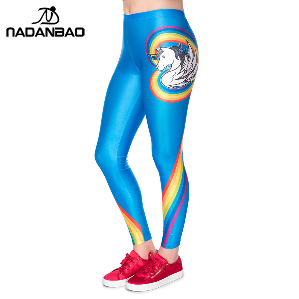NADANBAO Unicorn Party 2019   Leggings   Women Heart Shape Rainbow Digital Printing Plus Size   Legging   Workout Elastic Fitness Pants
