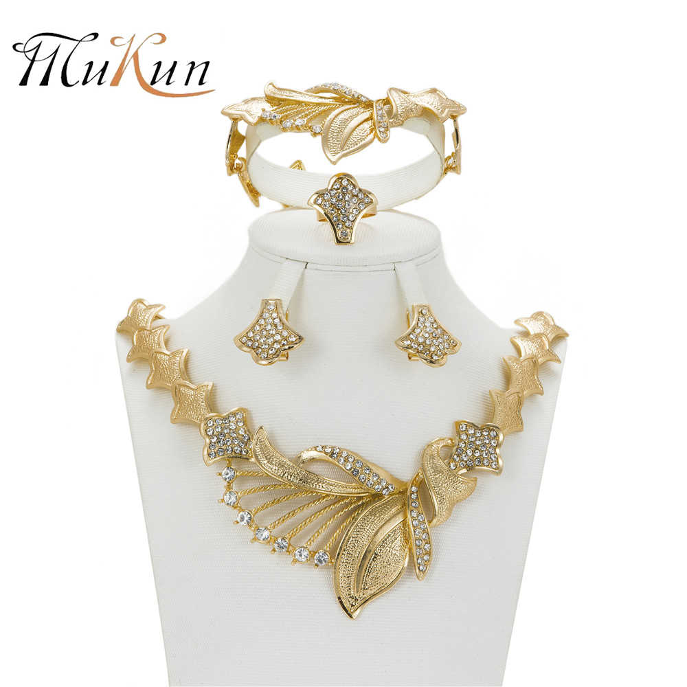 MuKun indian jewelry Dubai Gold Color Wedding Jewelry Set Bridal gift  African Beads Jewelry Set Dress Accessories Jewelry Sets