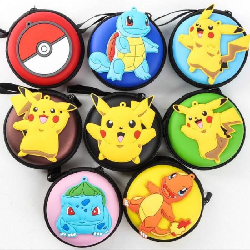2017 Cartoon Pokemon Pikachu Round Headset Coin Purse Women Cute Zipper Change Purse Wallet Pouch Bag For Kids Girl Gift pocket monster pokemon wallet teenager boy girl kawaii pikachu poke ball wallet naruto student dollar bag card holder purse 12