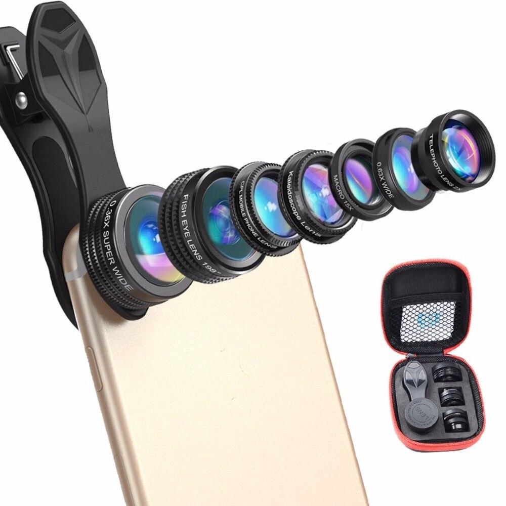 Ulanzi 7 в 1 Универсальный Clip-On сотового телефона набор объектива, HD Калейдоскопы + зум телефото + рыбий глаз + Широкий формат + макро + 0.36X + CPL для …