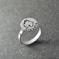 Anel Schnauzer, Engravable Anel, Gravura Em Metal personalizado, Cão de prata Anel, Personalizado com o nome do cão, martelado anel animais