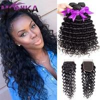 Monika Malaysian Hair Deep Wave Bundles With Closure Human Hair 3/4 Bundles With Closure 4*4 Closure With Bundles Hair Extension