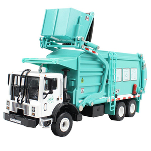 Image 3 - Alloy Diecast Barreled Garbage Carrier Truck 1:24 Waste Material Transporter Vehicle Model Hobby Toys For Kids Christmas Gift
