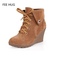 2017 Spring Women Boots Suede Leather Wedge Woman Winter Shoes Female Lace Up Heels Casual Shoes