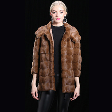 2018 100% Natural Real Mink Fur Jackets Khaki Women Add warm cotton lining female Genuine Leather Hooded Winter Long thick coats
