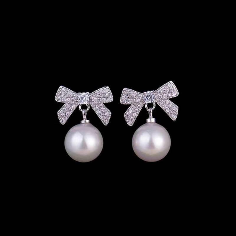Designer perle pflastern perle stud ohrringe mit bogen 925 sterling silber für frauen