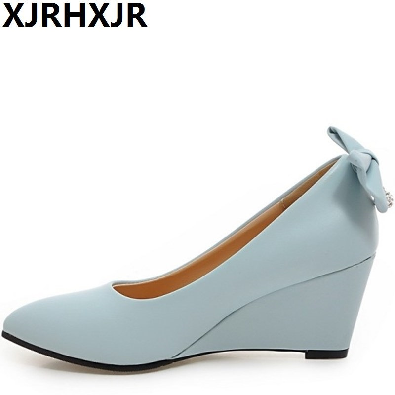 XJRHXJR Fashion Pointed Toe High Heels Women Shoes Wedges Heels Ladies Casual 5 Colors Sweet Bow Pumps Large Size 31-43 2015 new design womens wedges heels pumps fashion pointed toe wood heel single shoes large size thick heels ladies shoes 34 43