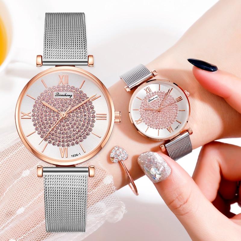 Luxury Women Pink Bracelet Watches Dress Silver Mesh Rhinestone Quartz Clock Fashion Ladies Wrist Watch Relogio Feminino