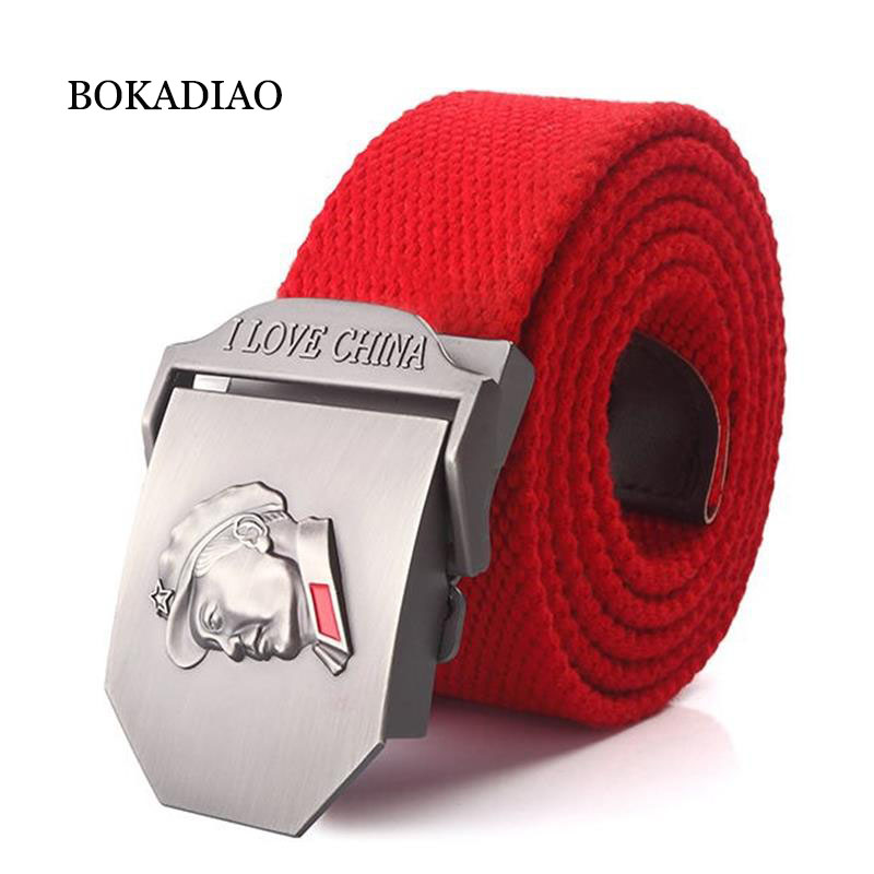 BOKADIAO Men&Women Military Canvas   belt   luxury Chairman Mao Metal buckle jeans   belt   Army tactical   belts   for male waistband strap