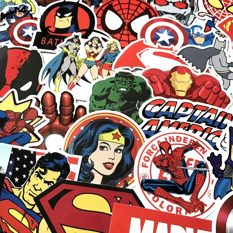 HOT 50 Pcs/Lot Stickers For MARVEL Super Hero DC Stickers For Car Laptop Decal Fridge Skateboard Batman Superman Hulk Iron Man