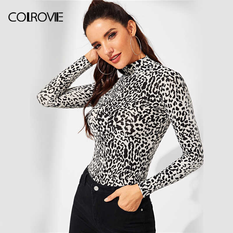 296d02ae6319 COLROVIE High Neck Zebra Print Fitting Casual T-Shirt Women Clothing 2018  Winter Long Sleeve