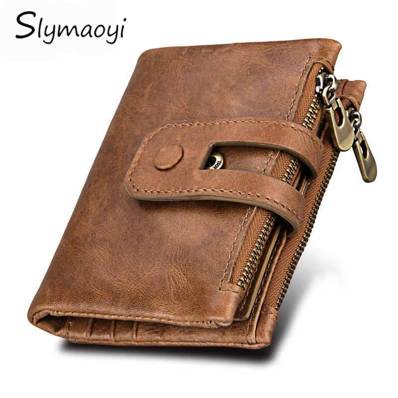 Slymaoyi Genuine Leather Men Wallet Vintage Men Walet Zipper&Hasp Male Portomonee Short Coin Purse Brand Perse Carteira For Rfid