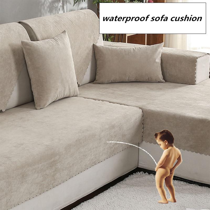 Waterproof Sofa Cushion Isolation Of Children's Urine Towel Sofacover Non-slip Pure Color Four Seasons Universal Pet Sofa Cover