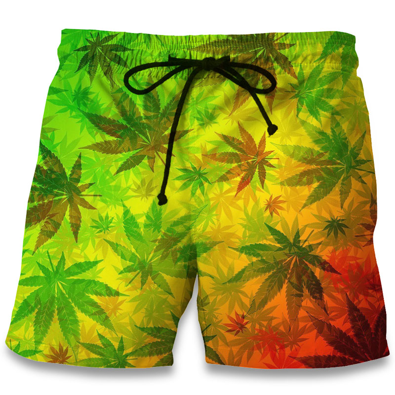 Casual Beach Shorts Maple Leaf Weeds 3D Print Men Korte Broek Summer Fitness Trunks Bermuda 2018 Fashion Board Shorts Clothing