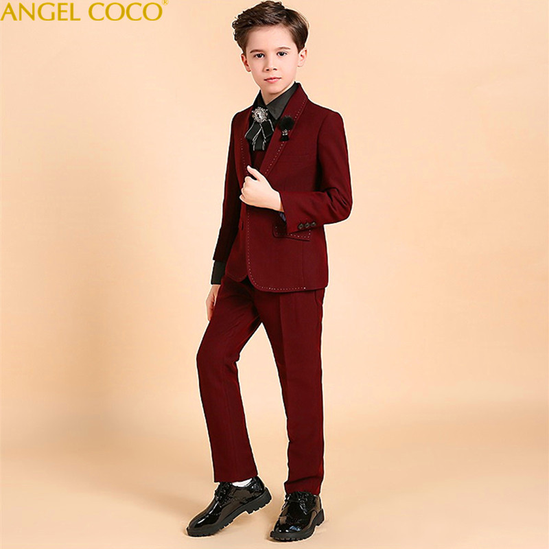 Handsome Boys Suits For Weddings New Arrival Boys Wedding Suit Formal Suit For Boy Kids Wedding Suits Blazer Boy Garcon 2018 2018 new arrival boy suits england style boys blazer long sleeve plaid for kids clothes