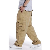 XL EXTRA LARGE Men Pants Loose Overalls Plus Size Man Cargo Pants Fat Male men's trousers Causal Long Pants